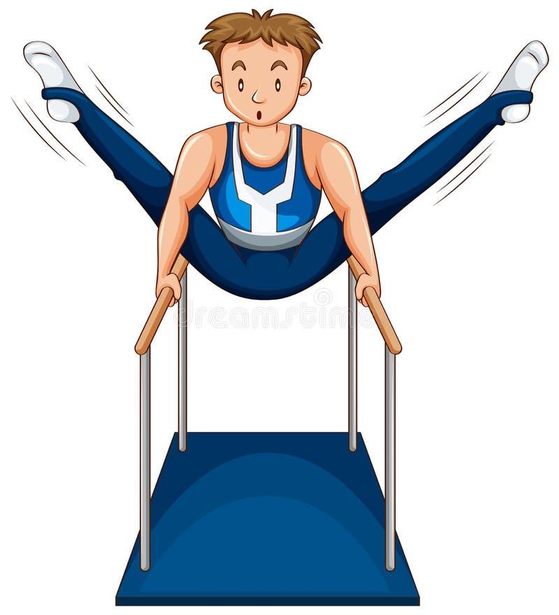 Man som gör gymnastik på parellelstänger royaltyfri illustrationer