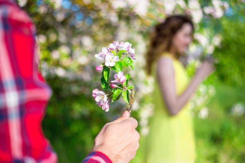 Man som ger blommor till hans flickvän i trädgård royaltyfri foto