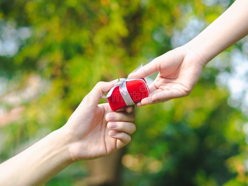 Man som ger en röd gåvaask till kvinnan Förälskelse valentin, närvarande begrepp royaltyfri fotografi