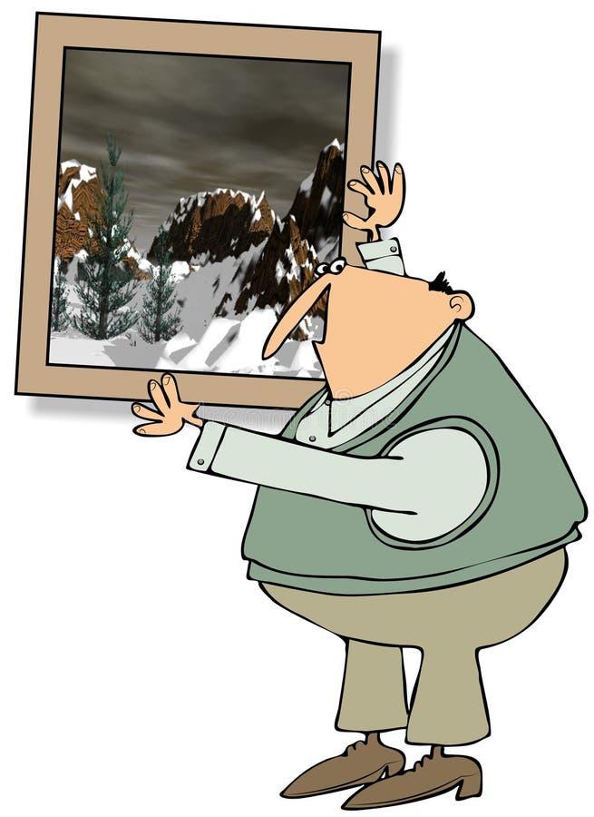Man som hänger en stor målning