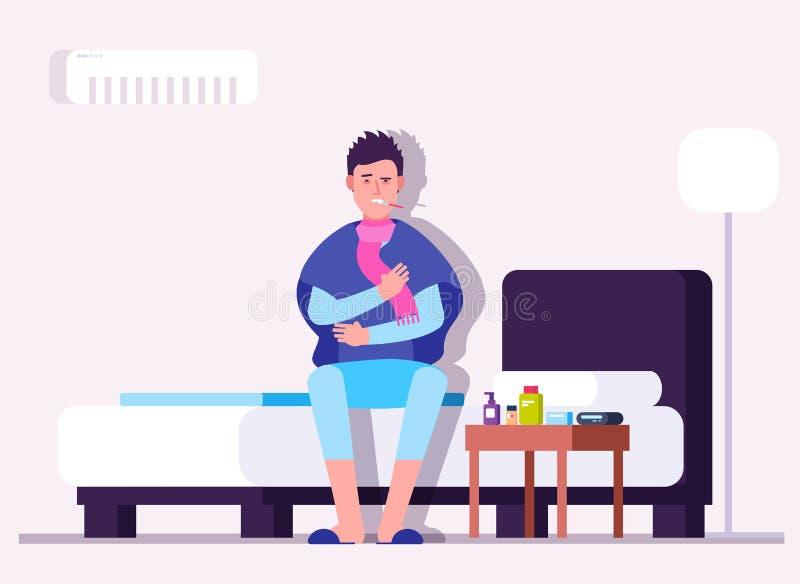 Man som har förkylning eller influensa Vintersjukdom, sjuk person, patient med termometern Läkarundersökning för vektor för influ royaltyfri illustrationer