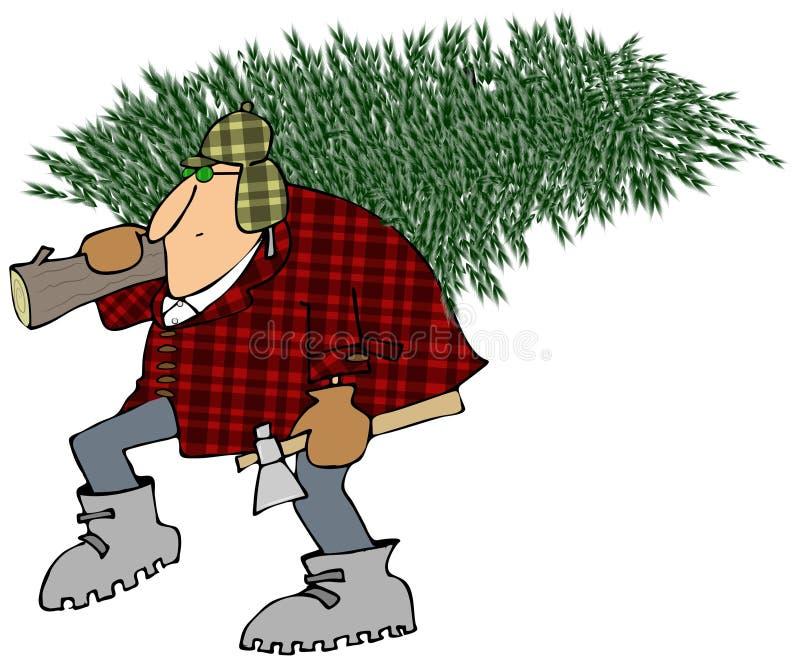 Man som hem bär en julgran royaltyfri illustrationer