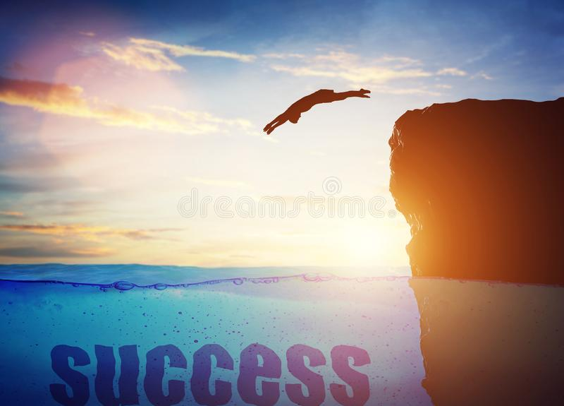 Man som hoppar för en framgång begreppsm?ssigt vektor illustrationer