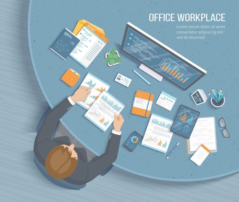 Man som i regeringsställning arbetar på den runda tabellen Skrivbords- Workspacestol för arbetsplats, affärskontorstillförsel, do royaltyfri illustrationer