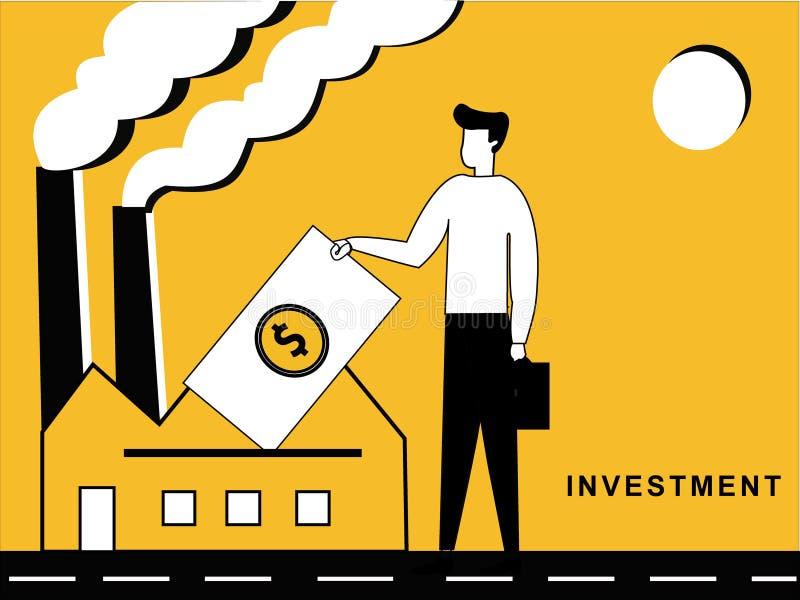 Man som investerar i en fabrik stock illustrationer
