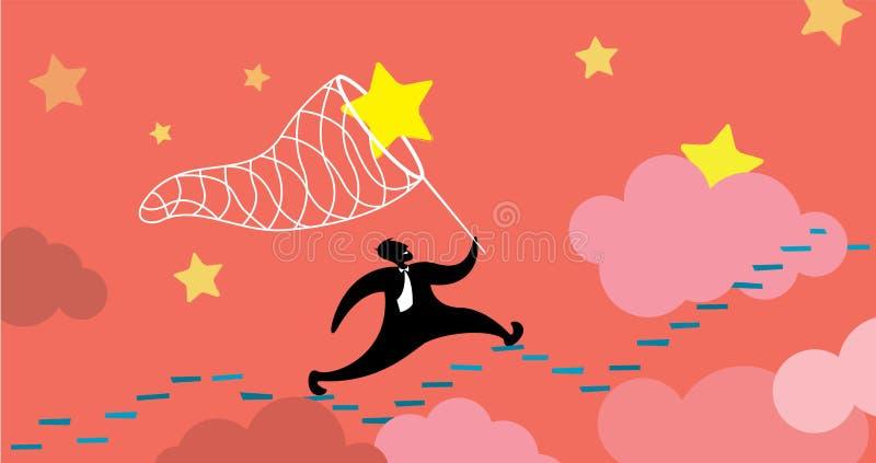 Man som jagar och fångar dröm vektor illustrationer