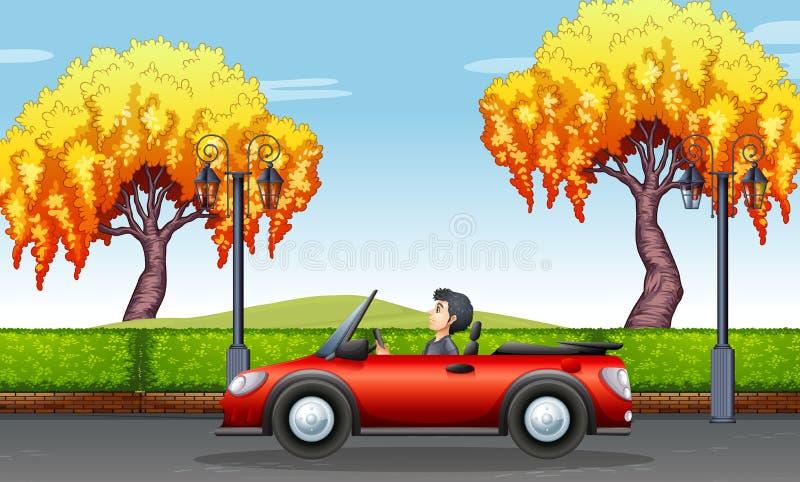 Man som kör den konvertibla bilen i parkera royaltyfri illustrationer