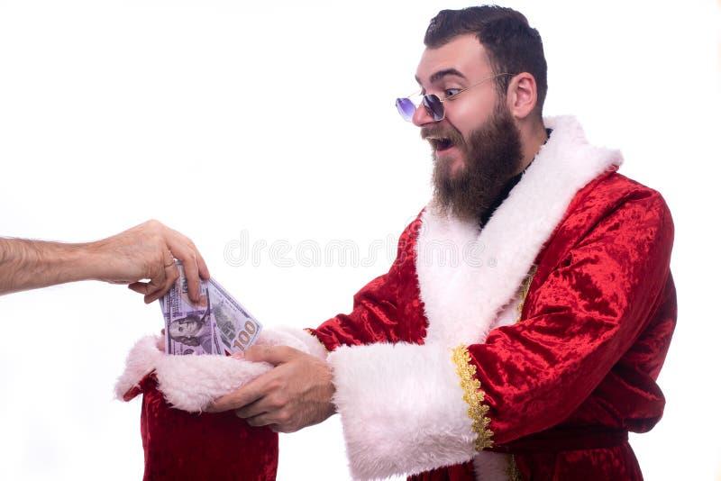 Man som kläs som Santa Claus royaltyfri fotografi