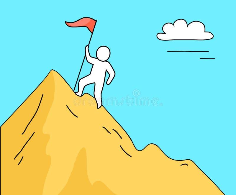 Man som klättrar det höga berget på vektorillustration stock illustrationer