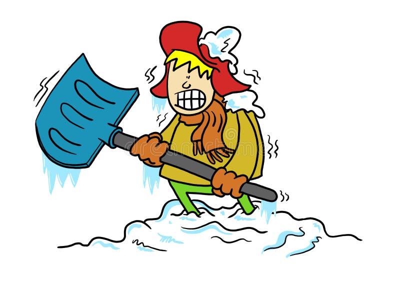 Man som klibbas i snö med skyffeln arkivbild