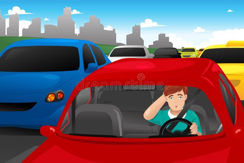 Man som klibbas i trafik royaltyfri illustrationer