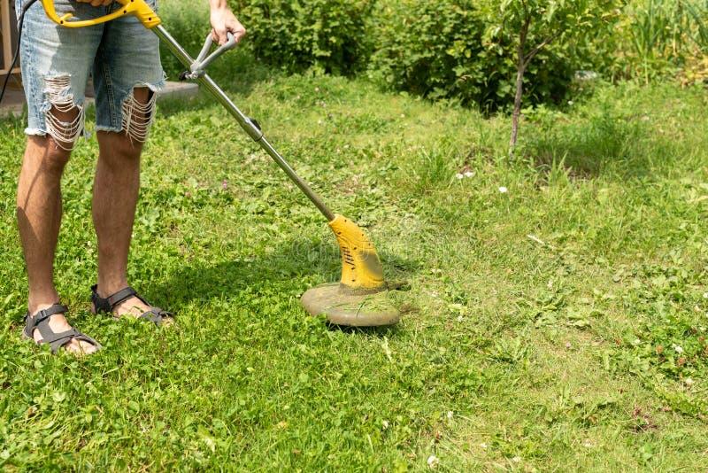 Man som klipper gräset i trädgården med en gräsklippare, beskärare, detalj kopiera avst?nd arkivbilder