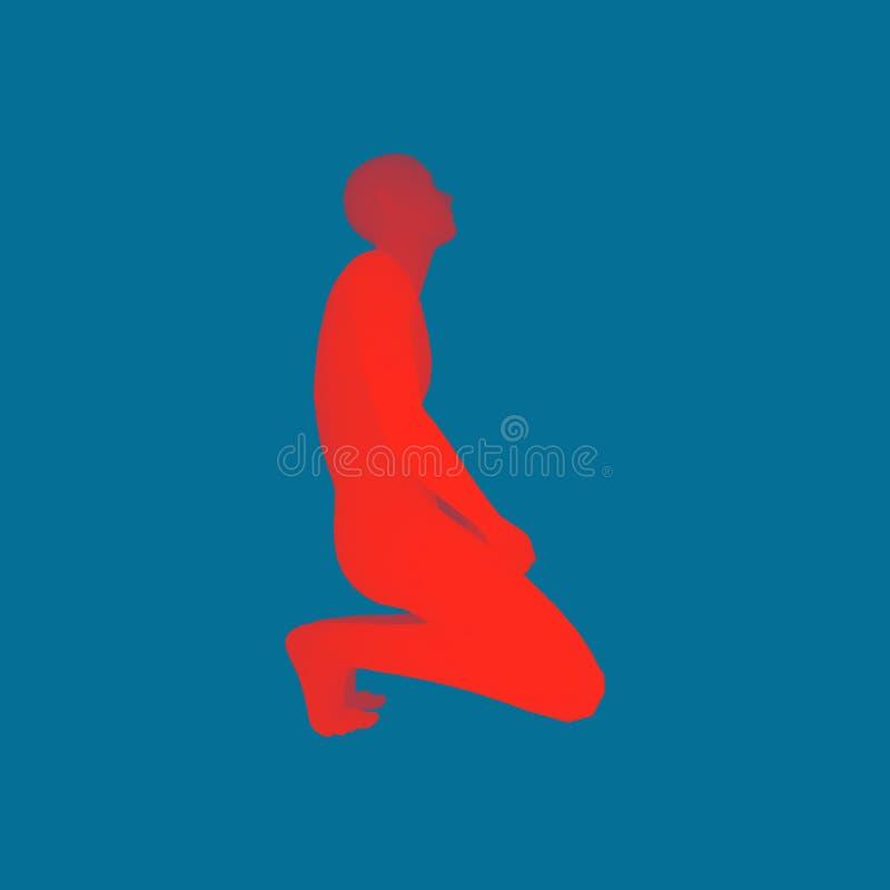 Man som knäfaller och ber till guden modell för människokropp 3D vektor för bild för designelementillustration royaltyfri illustrationer