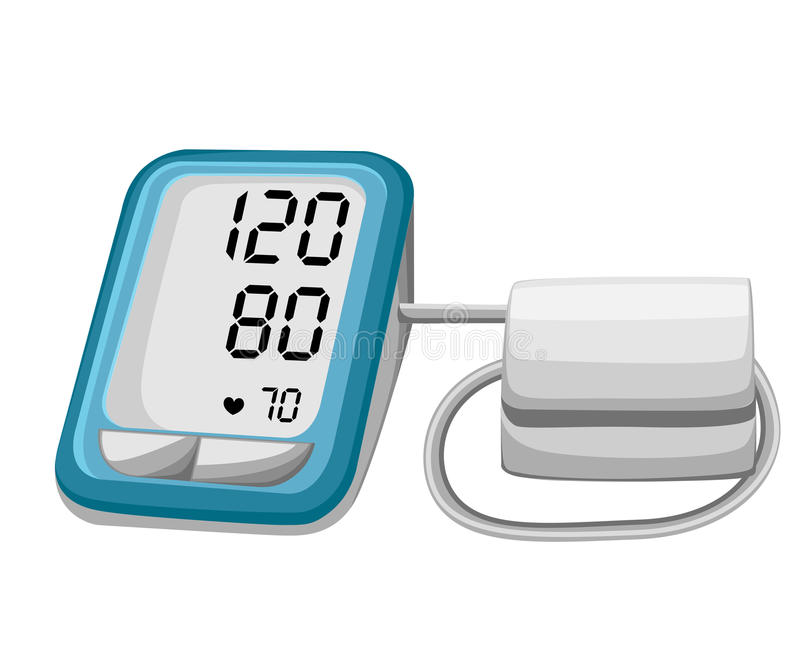 Man som kontrollerar arteriellt blodtryck Digital apparattonometer Medicinsk utrustning Diagnostisera högt blodtryck, hjärta Mäta royaltyfri illustrationer