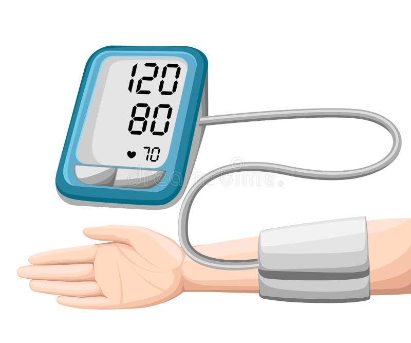 Man som kontrollerar arteriellt blodtryck Digital apparattonometer Medicinsk utrustning Diagnostisera högt blodtryck, hjärta Mäta stock illustrationer