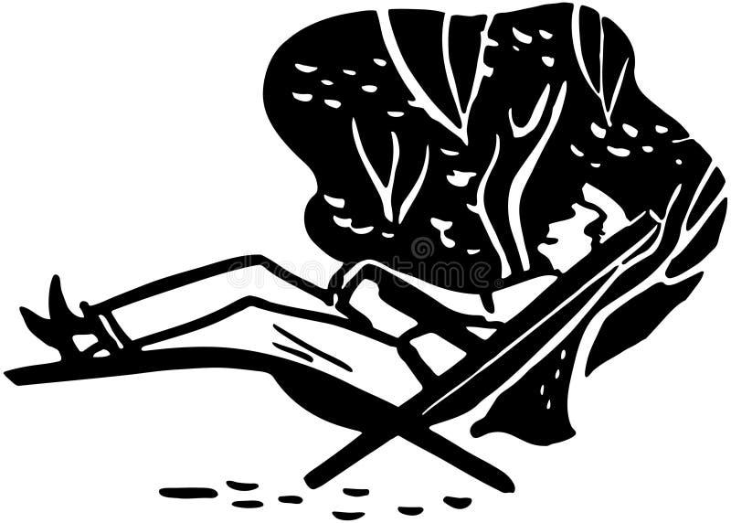 Man som kopplar av i en Chaise royaltyfri illustrationer