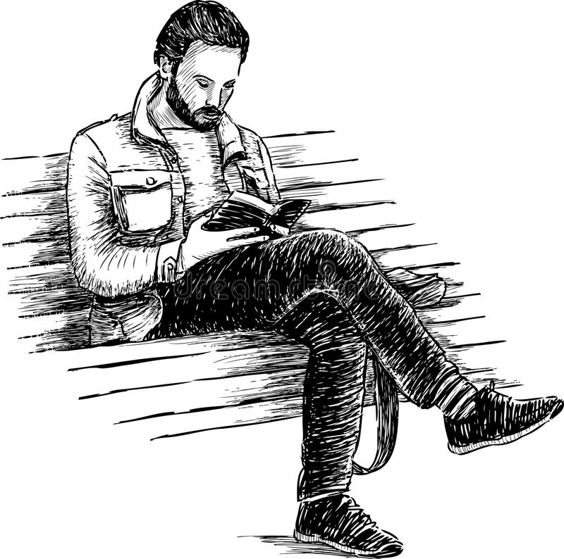 Man som läser en bok vektor illustrationer