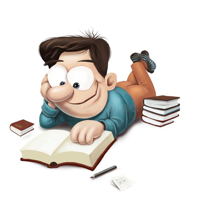 Man som läser en bok på golv royaltyfri illustrationer