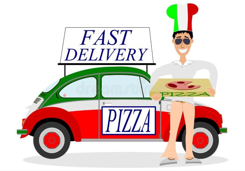 Man som levererar pizza vektor illustrationer