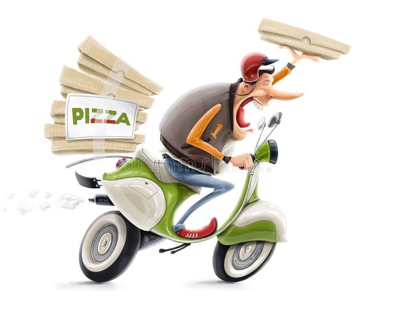 Man som levererar pizza på cykeln stock illustrationer