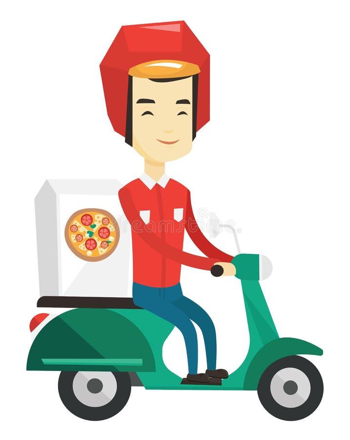 Man som levererar pizza på sparkcykeln royaltyfri illustrationer