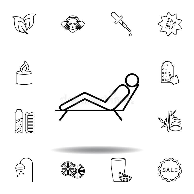 Man som ligger p? solstol av brunnsort?versiktssymbolen Detaljerad uppsättning av brunnsorten och att koppla av illustrationsymbo royaltyfri illustrationer