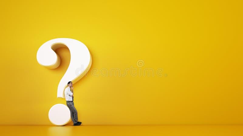 Man som lutar på en stor vit frågefläck på en gul bakgrund framf?rande 3d royaltyfri illustrationer