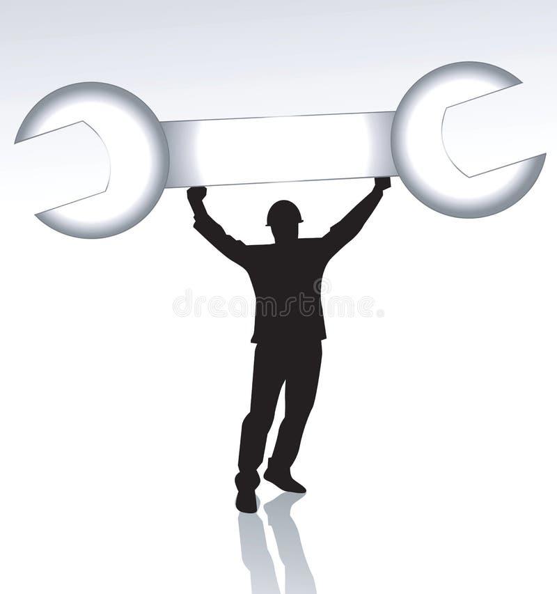 Man som lyfter en skruvnyckel vektor illustrationer