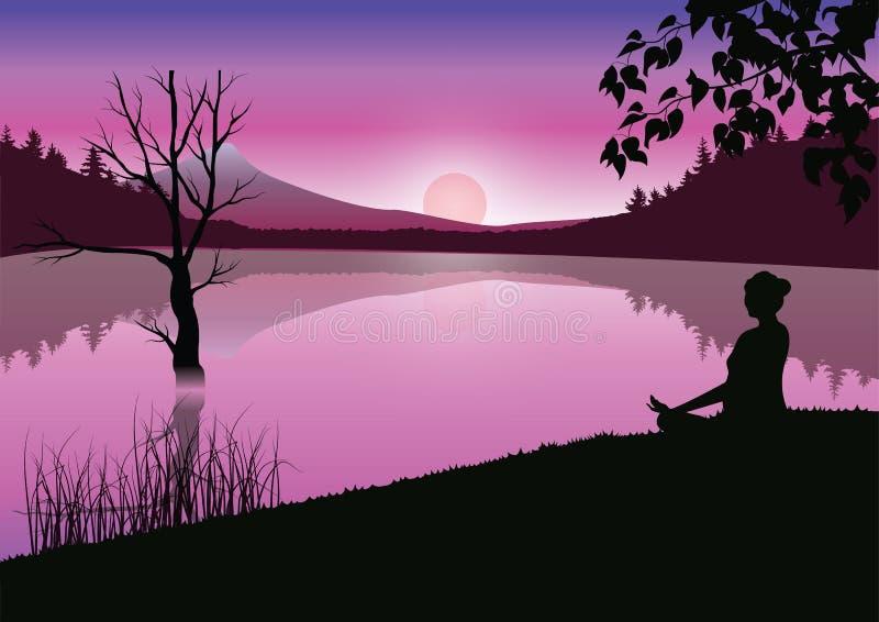 Man som mediterar i sammanträdeyogaposition på överkanten av ovannämnda moln för berg på solnedgången Zen meditation, fred, vekto royaltyfri illustrationer