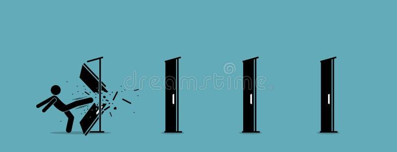 Man som ner, en och en sparkar och förstörande dörr royaltyfri illustrationer