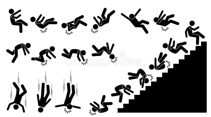 Man som ner faller och avverkar stock illustrationer
