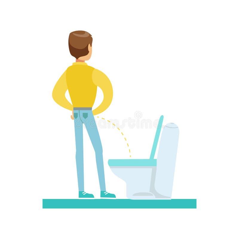 Man som Peeing i Toleten, del av folk i badrummet som gör deras rutinmässiga hygientillvägagångssättserie stock illustrationer