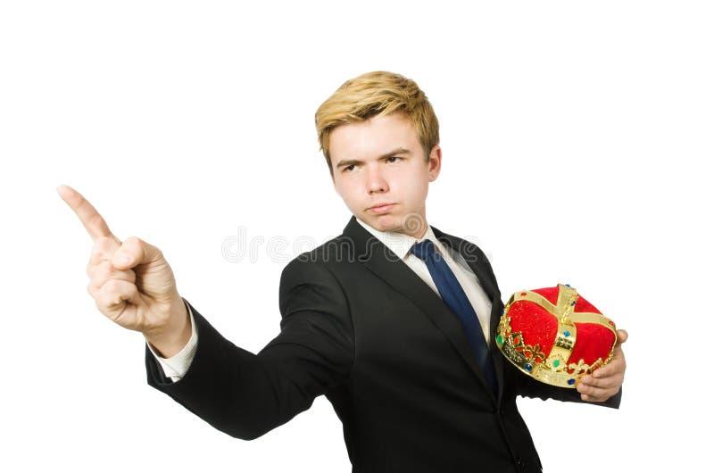 Man som pekar hans isolerade fingrar arkivbild
