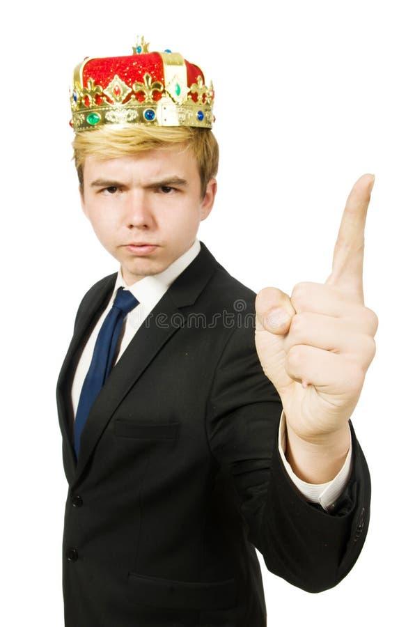Man som pekar hans isolerade fingrar royaltyfria foton