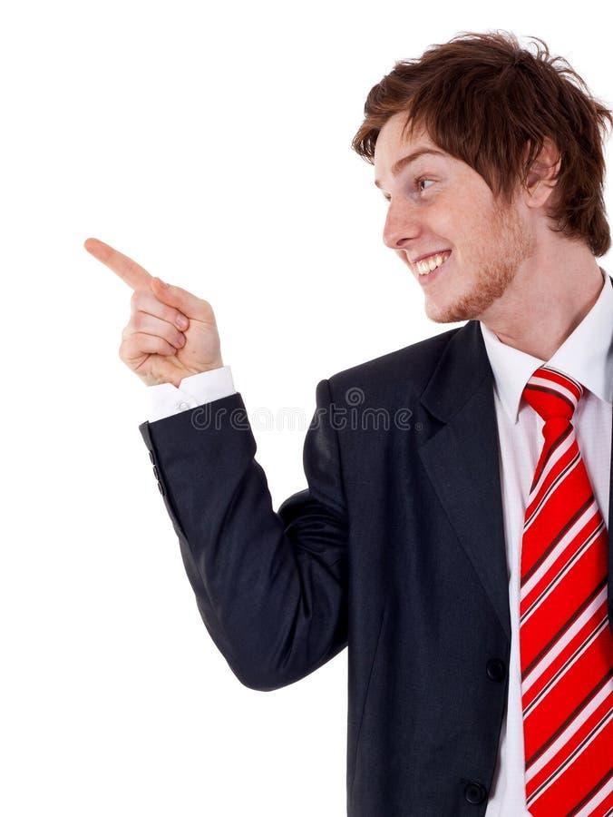 man som pekar sidan till royaltyfri bild