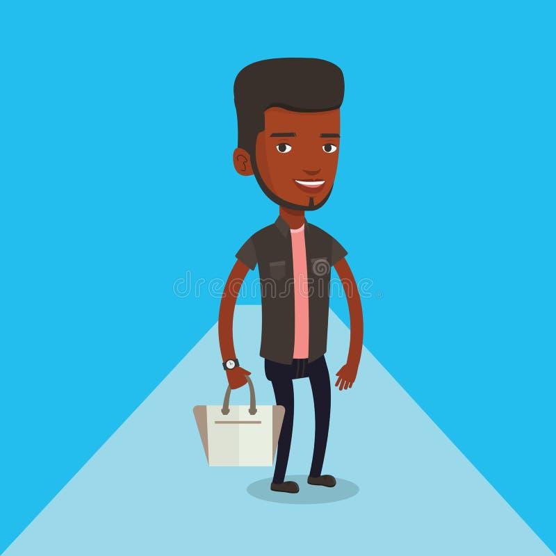 Man som poserar på catwalk under modeshow royaltyfri illustrationer