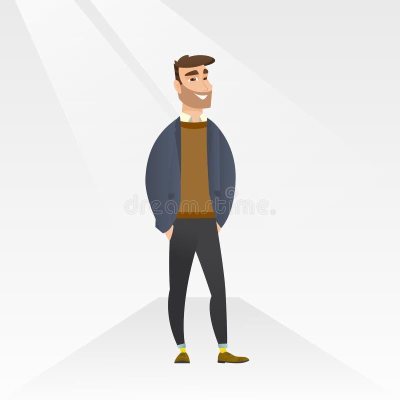 Man som poserar på catwalk under modeshow stock illustrationer