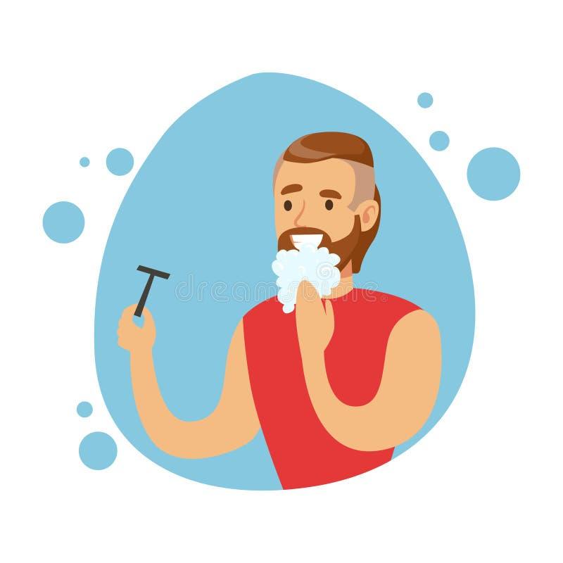 Man som rakar skägget, del av folk i badrummet som gör deras rutinmässiga hygientillvägagångssättserie royaltyfri illustrationer