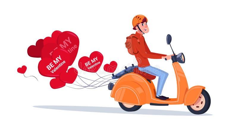 Man som rider den Retro motoriska cykeln med hjärta format begrepp för dag för valentin för luftballonger lyckligt royaltyfri illustrationer