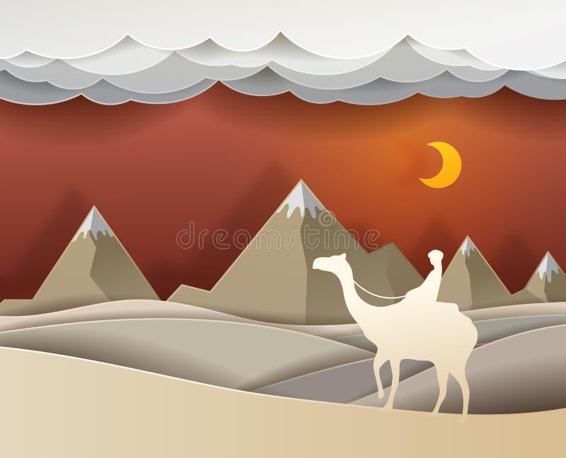 Man som rider en kamel i öknen på gullig konst för nattvektorpapper royaltyfri illustrationer