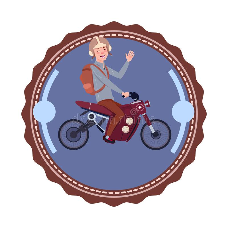Man som rider modern bergmotorcykeltappning Logo Design Icon Isolated stock illustrationer