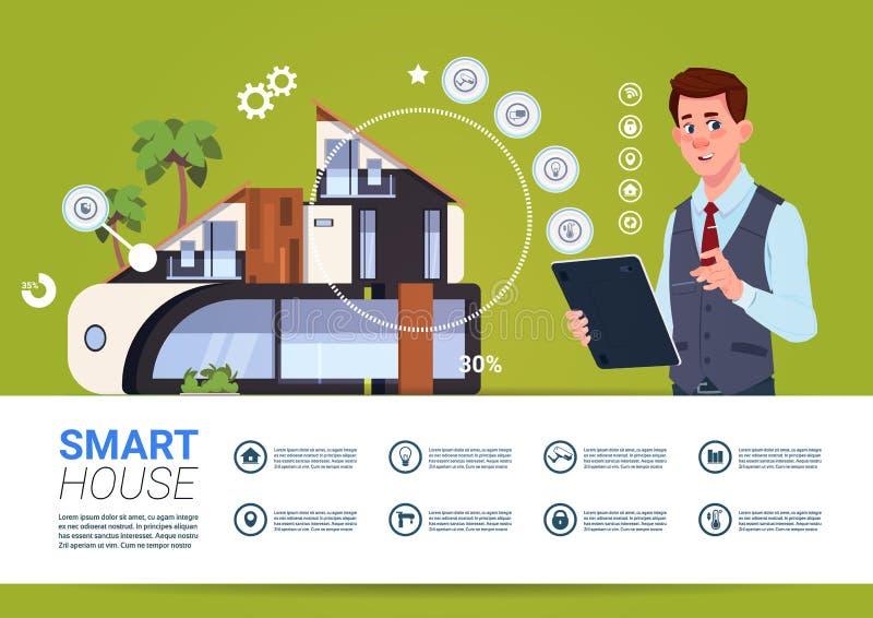 Man som rymmer den Digital minnestavlan med begrepp för manöverenhet för system för för Smart hemkontroll och administration stock illustrationer