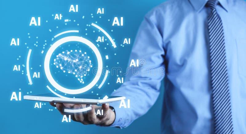 Man som rymmer den mänskliga hjärnan med Ai-ord den konstgjorda hjärnan circuits mainboard för elektronisk intelligens för begrep royaltyfria bilder