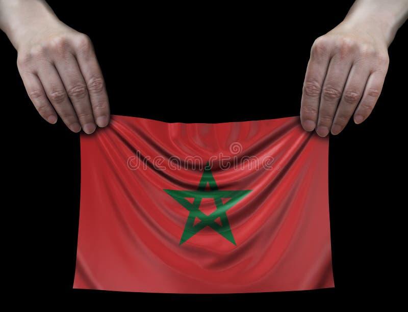 Man som rymmer den marockanska flaggan vektor illustrationer