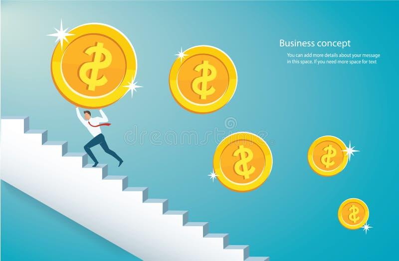 Man som rymmer det stora guld- myntet som klättrar trappa till framgångvektorillustrationen eps10 vektor illustrationer