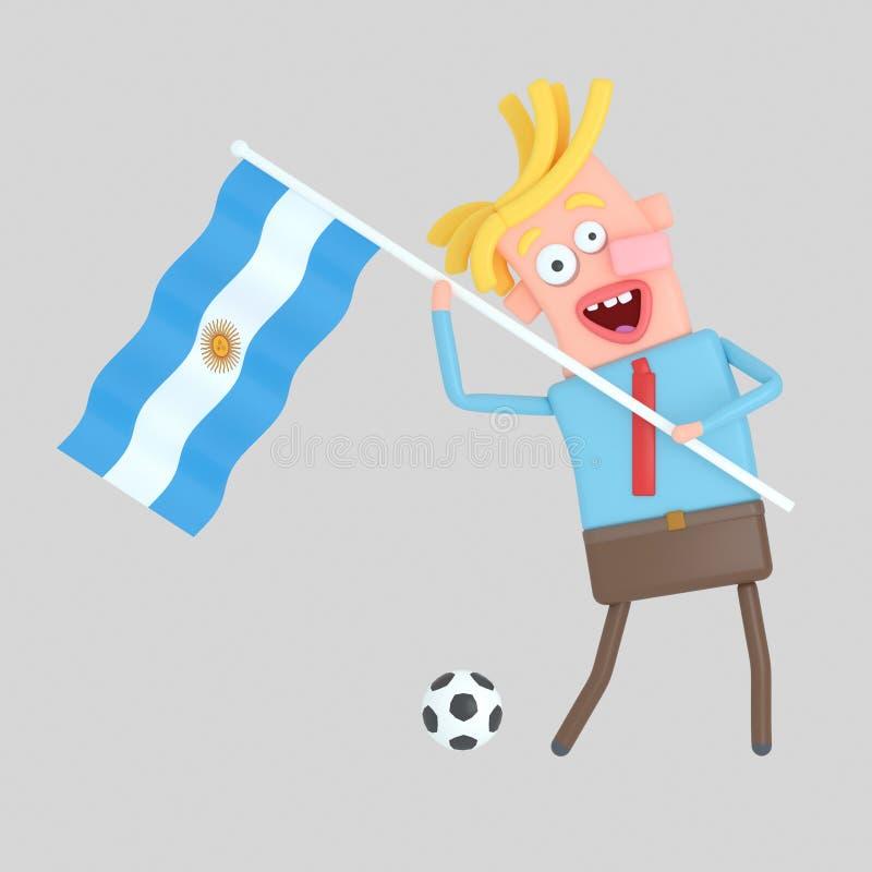 Man som rymmer en flagga av Argentina illustration 3d vektor illustrationer