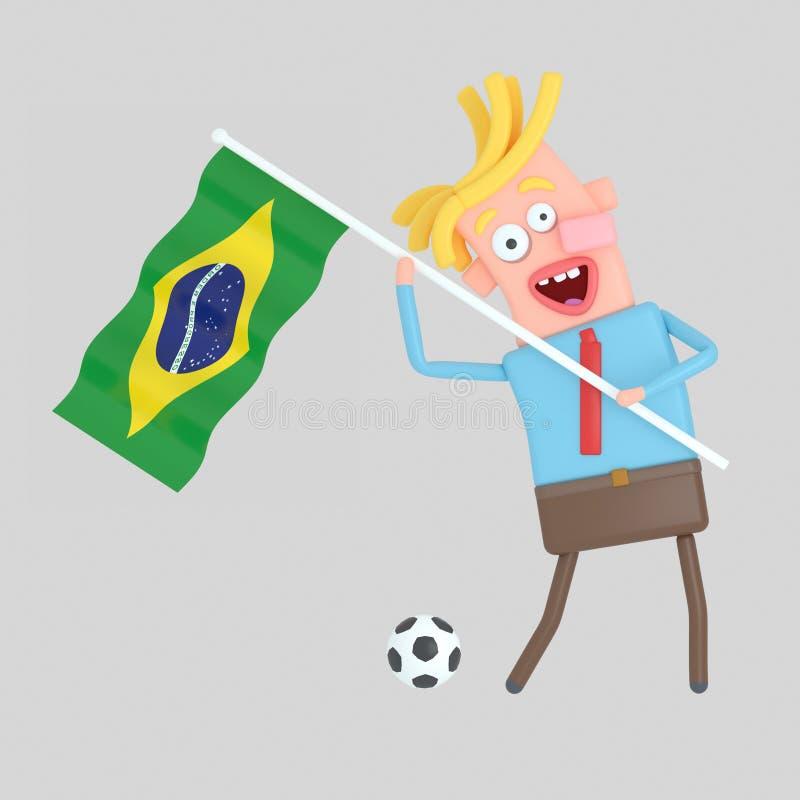 Man som rymmer en flagga av Brasilien illustration 3d stock illustrationer