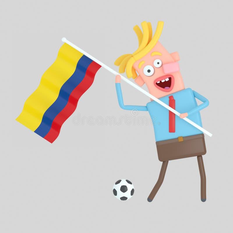 Man som rymmer en flagga av Colombia illustration 3d royaltyfri illustrationer