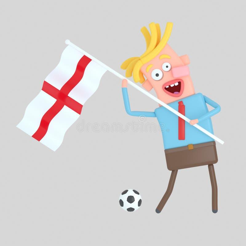 Man som rymmer en flagga av England illustration 3d royaltyfri illustrationer