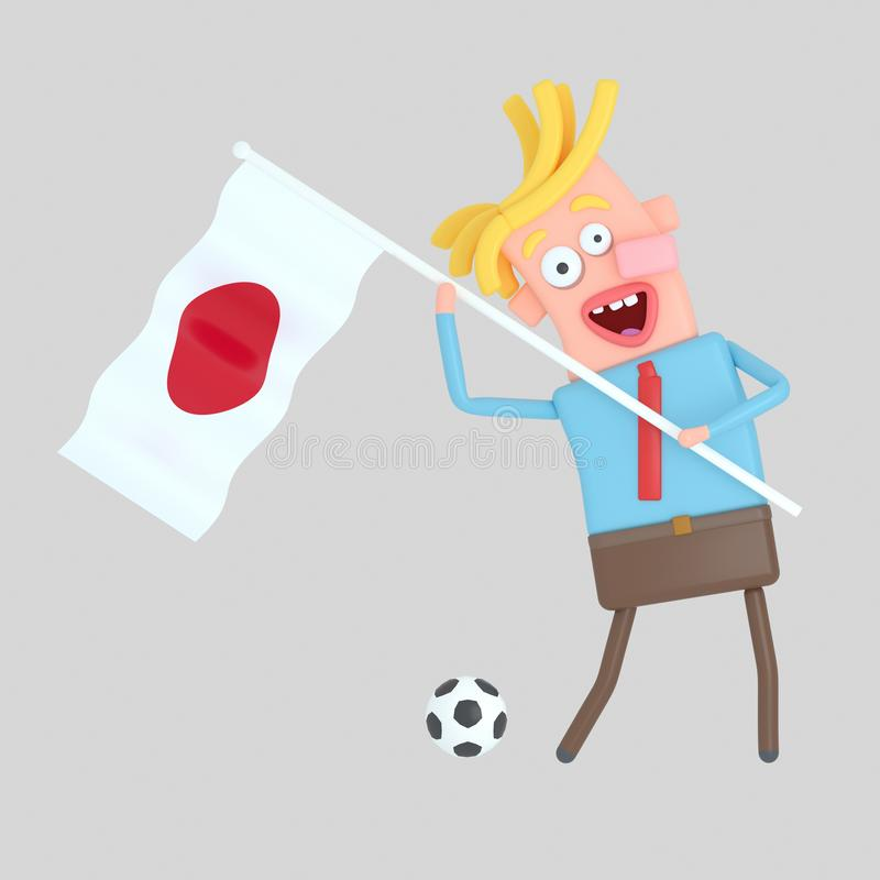 Man som rymmer en flagga av Japan illustration 3d vektor illustrationer